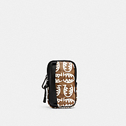 COACH 1195 North/south Hybrid Pouch In Signature Canvas With Rexy By Guang Yu QB/TAN CHALK