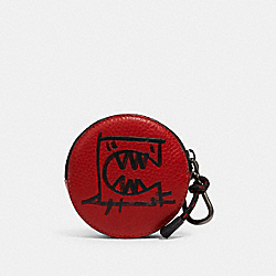 ROUND HYBRID POUCH WITH REXY BY GUANG YU - 1197 - QB/CRIMSON BLACK