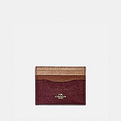 COACH 12070 Card Case In Colorblock VINTAGE MAUVE MULTI/GOLD