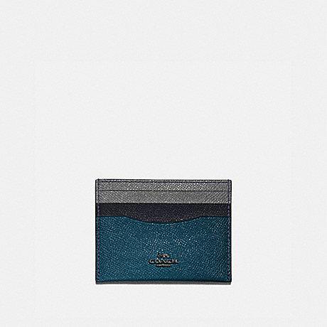 COACH CARD CASE IN COLORBLOCK - GM/PEACOCK MULTI - 12070