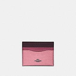 COACH 12070 Card Case In Colorblock GM/TRUE PINK MULTI