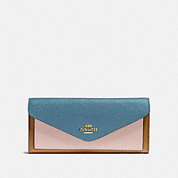 SOFT WALLET IN COLORBLOCK - 12122 - BRASS/PACIFIC BLUE MULTI