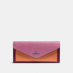 COACH 12122 Soft Wallet In Colorblock DK/WINE MULTI