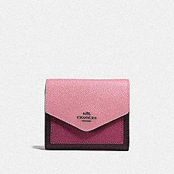 COACH 12123 - SMALL WALLET IN COLORBLOCK GUNMETAL/TRUE PINK MULTI