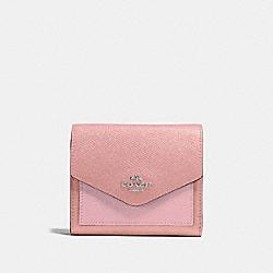 COACH 12123 Small Wallet In Colorblock LIGHT BLUSH MULTI/SILVER