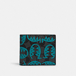 3-IN-1 WALLET IN SIGNATURE CANVAS WITH REXY BY GUANG YU - 1212 - QB/CHARCOAL BLUE GREEN
