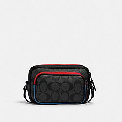 COACH 1214 - MINI EDGE DOUBLE POUCH CROSSBODY IN COLORBLOCK SIGNATURE CANVAS WITH COACH PATCH QB/CHARCOAL/ BLUE JAY MULTI