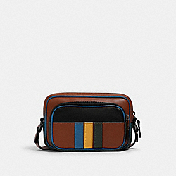 COACH 1216 - MINI EDGE DOUBLE POUCH CROSSBODY IN COLORBLOCK WITH VARSITY STRIPE QB/REDWOOD MUTLI