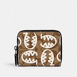 COACH 1259 - MEDIUM ZIP AROUND WALLET IN SIGNATURE CANVAS WITH REXY BY GUANG YU QB/TAN CHALK