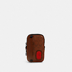 COACH 1263 - NORTH/SOUTH HYBRID POUCH IN SIGNATURE CANVAS WITH COACH PATCH QB/REDWOOD MULTI