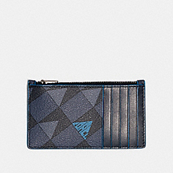 ZIP CARD CASE WITH CHECK GEO PRINT - 1272 - QB/NAVY