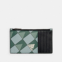 COACH 1272 - ZIP CARD CASE WITH CHECK GEO PRINT QB/TEAL