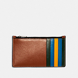 COACH 1273 - ZIP CARD CASE IN COLORBLOCK QB/REDWOOD MUTLI