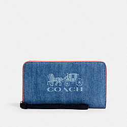 COACH 1281 - JES LARGE PHONE WALLET WITH HORSE AND CARRIAGE SV/DENIM