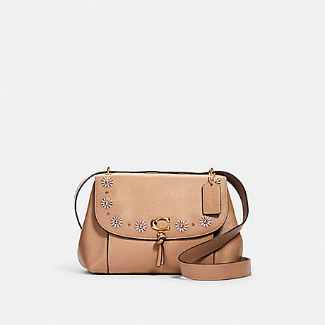 COACH 1294 REMI SHOULDER BAG WITH WHIPSTITCH DAISY APPLIQUE IM/TAUPE