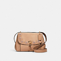 REMI SHOULDER BAG WITH WHIPSTITCH DAISY APPLIQUE - 1294 - IM/TAUPE