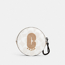 ROUND HYBRID POUCH IN SIGNATURE CANVAS WITH COACH PATCH - 1297 - QB/CHALK STEAM