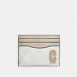SLIM CARD CASE IN SIGNATURE CANVAS WITH COACH PATCH - 1299 - QB/CHALK STEAM