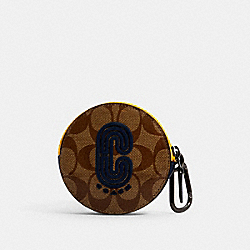 COACH 1300 - ROUND HYBRID POUCH IN COLORBLOCK SIGNATURE CANVAS WITH COACH PATCH QB/TAN MULTI