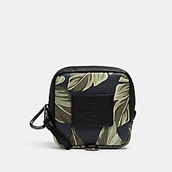 COACH 1315 - SQUARE HYBRID POUCH WITH BANANA LEAF PRINT QB/NAVY GREEN