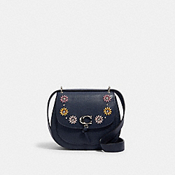 REMI SADDLE BAG WITH WHIPSTITCH DAISY APPLIQUE - 1331 - SV/MIDNIGHT