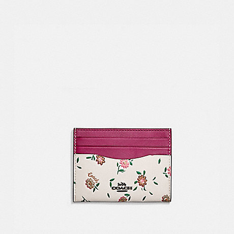 COACH CARD CASE WITH BLOCKED FLORAL PRINT - V5/CERISE MULTI - 1340