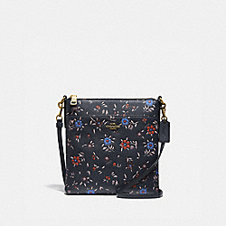 KITT MESSENGER CROSSBODY WITH WILDFLOWER PRINT - 1346 - B4/MIDNIGHT NAVY MULTI