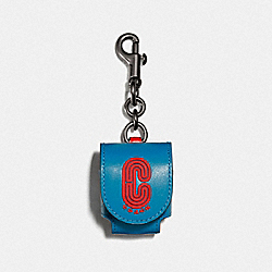COACH 1422 - EARBUD CASE BAG CHARM IN COLORBLOCK WITH COACH PATCH QB/BLUE JAY MIAMI RED