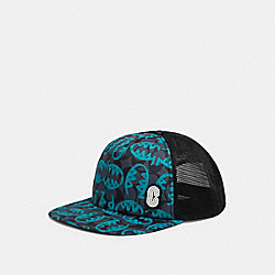 COACH 1439 Flat Brim Hat In Signature Nylon With Rexy By Guang Yu BLUE MULTI