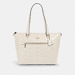 GALLERY TOTE IN SIGNATURE LEATHER - 1499 - IM/CHALK