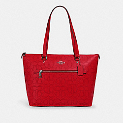 GALLERY TOTE IN SIGNATURE LEATHER - 1499 - QB/MIAMI RED