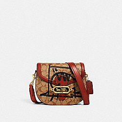 JADE SADDLE BAG IN SIGNATURE CANVAS WITH REXY BY GUANG YU - 1501 - OL/KHAKI MULTI