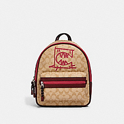COACH 1509 - VALE MEDIUM CHARLIE BACKPACK IN SIGNATURE CANVAS WITH REXY BY GUANG YU SV/LT KHAKI/ELCTRC PINK MULTI