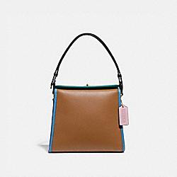 COACH 155 Turnlock Shoulder Bag In Colorblock B4/LT SADDLE PNE GRN