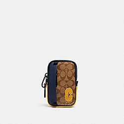 NORTH/SOUTH HYBRID POUCH IN COLORBLOCK SIGNATURE CANVAS WITH COACH PATCH - 1574 - QB/TAN MULTI