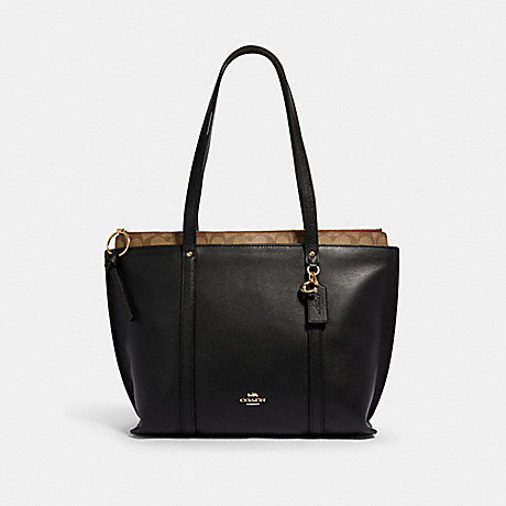 COACH 1575 MAY TOTE WITH SIGNATURE CANVAS DETAIL IM/BLACK-KHAKI
