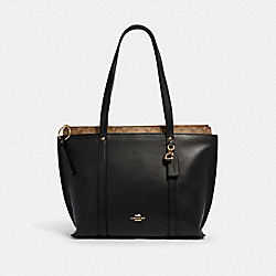 COACH 1575 - MAY TOTE WITH SIGNATURE CANVAS DETAIL IM/BLACK KHAKI