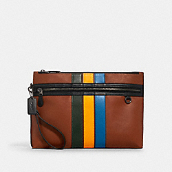 COACH 1576 - CARRYALL POUCH IN COLORBLOCK WITH VARSITY STRIPE QB/REDWOOD MUTLI