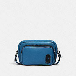 COACH 1578 - MINI EDGE DOUBLE POUCH CROSSBODY WITH COACH PATCH QB/BLUEJAY