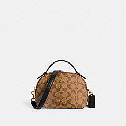 SERENA SATCHEL IN SIGNATURE CANVAS - 1591 - IM/KHAKI/BLACK