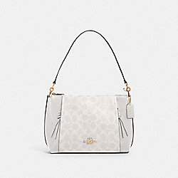 SMALL MARLON SHOULDER BAG IN SIGNATURE CANVAS - 1600 - IM/CHALK/GLACIERWHITE