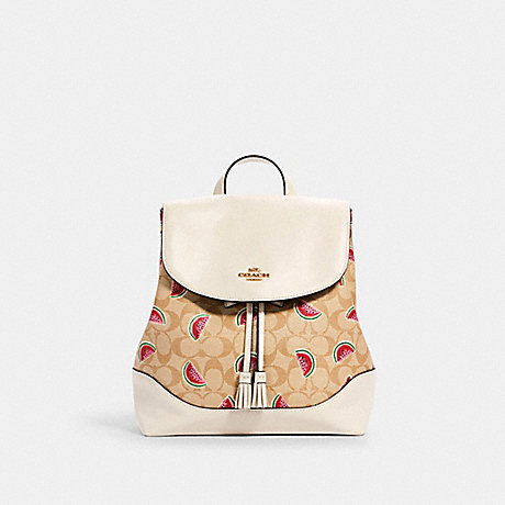 COACH 1602 ELLE BACKPACK IN SIGNATURE CANVAS WITH WATERMELON PRINT IM/LT KHAKI/RED MULTI