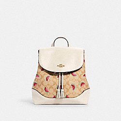 ELLE BACKPACK IN SIGNATURE CANVAS WITH WATERMELON PRINT - 1602 - IM/LT KHAKI/RED MULTI