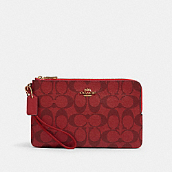 COACH 16109 Double Zip Wallet In Signature Canvas IM/1941 RED