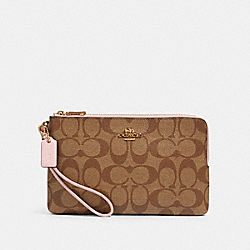 COACH 16109 Double Zip Wallet In Signature Canvas IM/KHAKI BLOSSOM