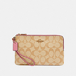 COACH 16109 - DOUBLE ZIP WALLET IN SIGNATURE CANVAS IM/LIGHT KHAKI ROSE