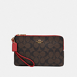 COACH 16109 - DOUBLE ZIP WALLET IN SIGNATURE CANVAS IM/BROWN 1941 RED