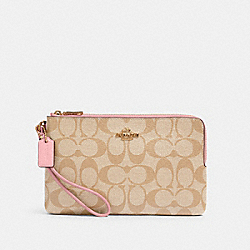 COACH 16109 - DOUBLE ZIP WALLET IN SIGNATURE CANVAS IM/LIGHT KHAKI/BUBBLEGUM