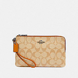 COACH 16109 - DOUBLE ZIP WALLET IN SIGNATURE CANVAS QB/KHAKI HONEY