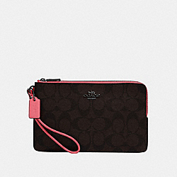 COACH 16109 Double Zip Wallet In Signature Canvas QB/BROWN PINK LEMONADE